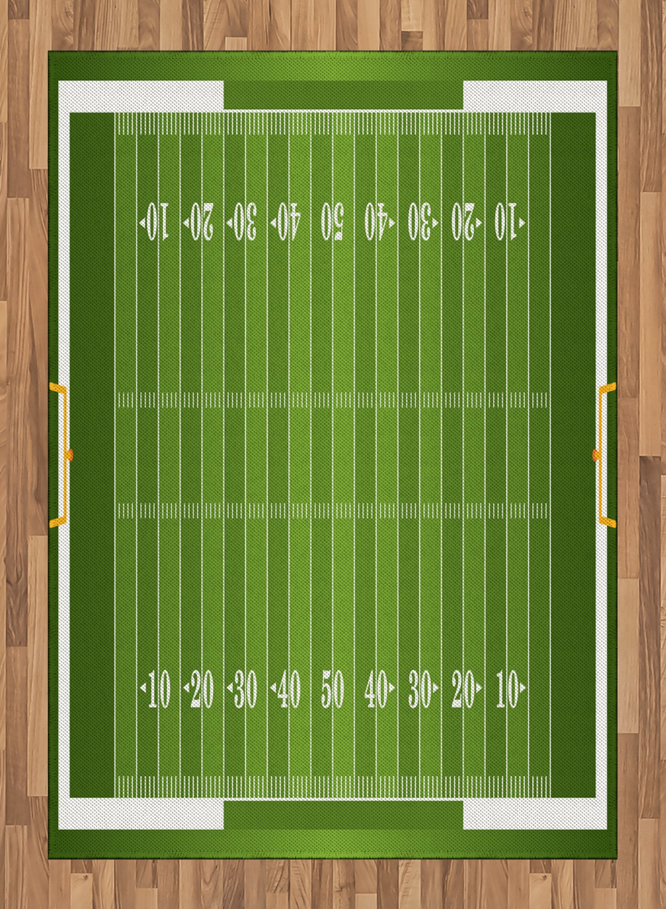 Football Area Rug by Lunarable, Sports Field in Green Gridiron Yard Competitive Games College Teamwork Superbowl, Flat Woven Accent Rug for Living Room Bedroom Dining Room, 5.2 x 7.5 FT, Green White