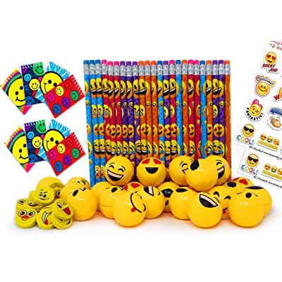 Emoji Party Favors Set for Kids, 24 Pencils 24 Erasers 24 Yellow Sharpeners 24 Notebooks and 2 Sheets Stickers, Bulk Prizes Pack for Birthday Parties and Goody Bag Fillers, By 4E's Novelty: Toys & Games