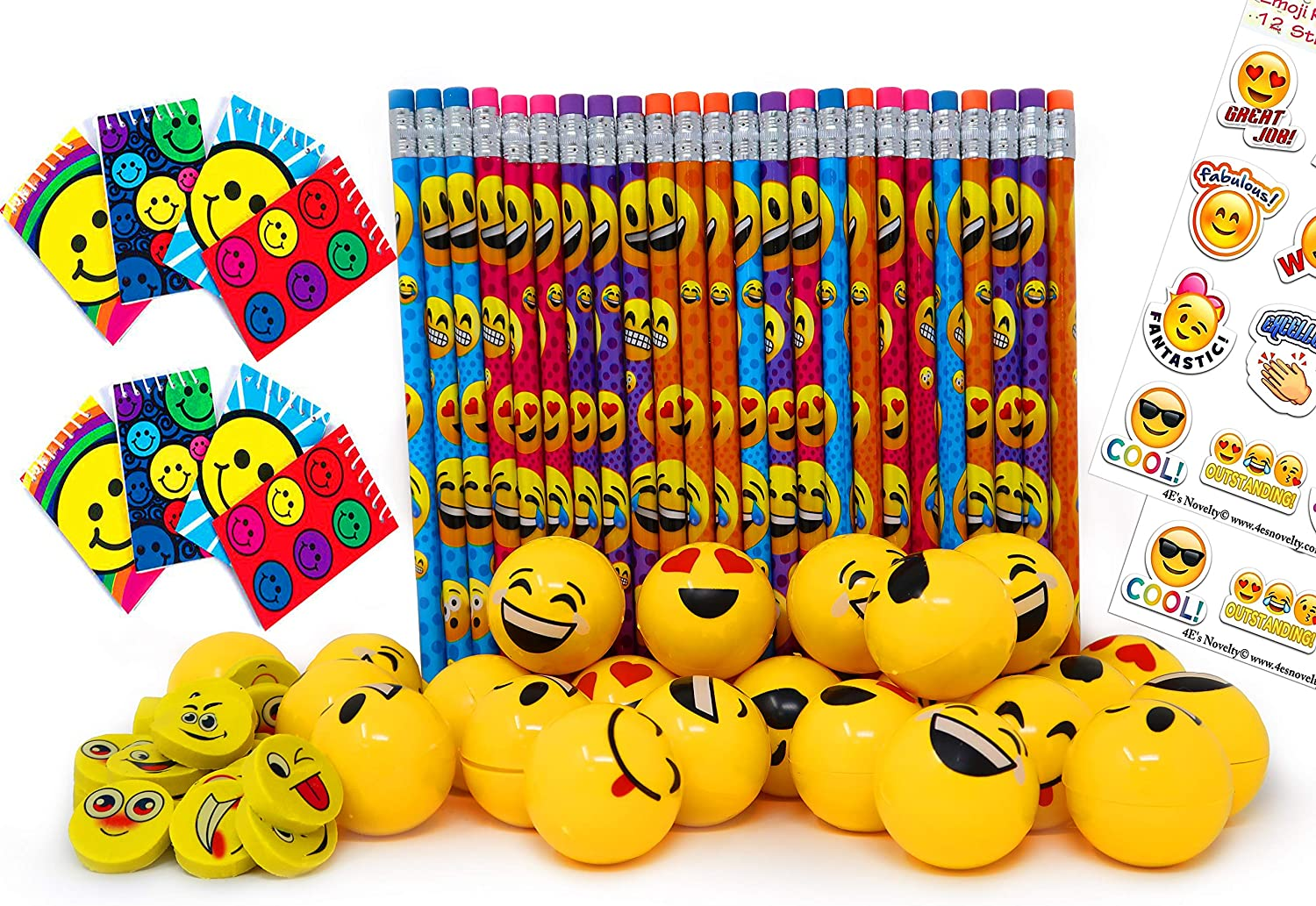 Emoji Party Favors Set for Kids, 24 Pencils 24 Erasers 24 Yellow Sharpeners 24 Notebooks and 2 Sheets Stickers, Bulk Prizes Pack for Birthday Parties ...