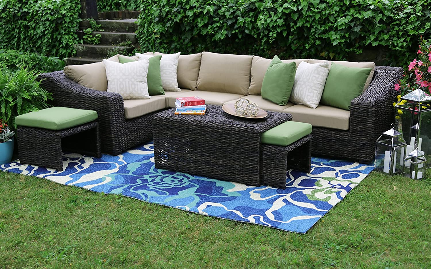 amazoncom ae outdoor williams 8 piece sectional with sunbrella fabric garden outdoor - Garden Furniture 4 All