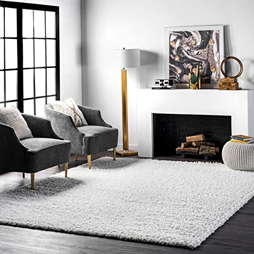 Amazon Com Nuloom Cozy Soft And Plush Diamond Solid Shag Area Rug 7 10 X 10 White Furniture Decor