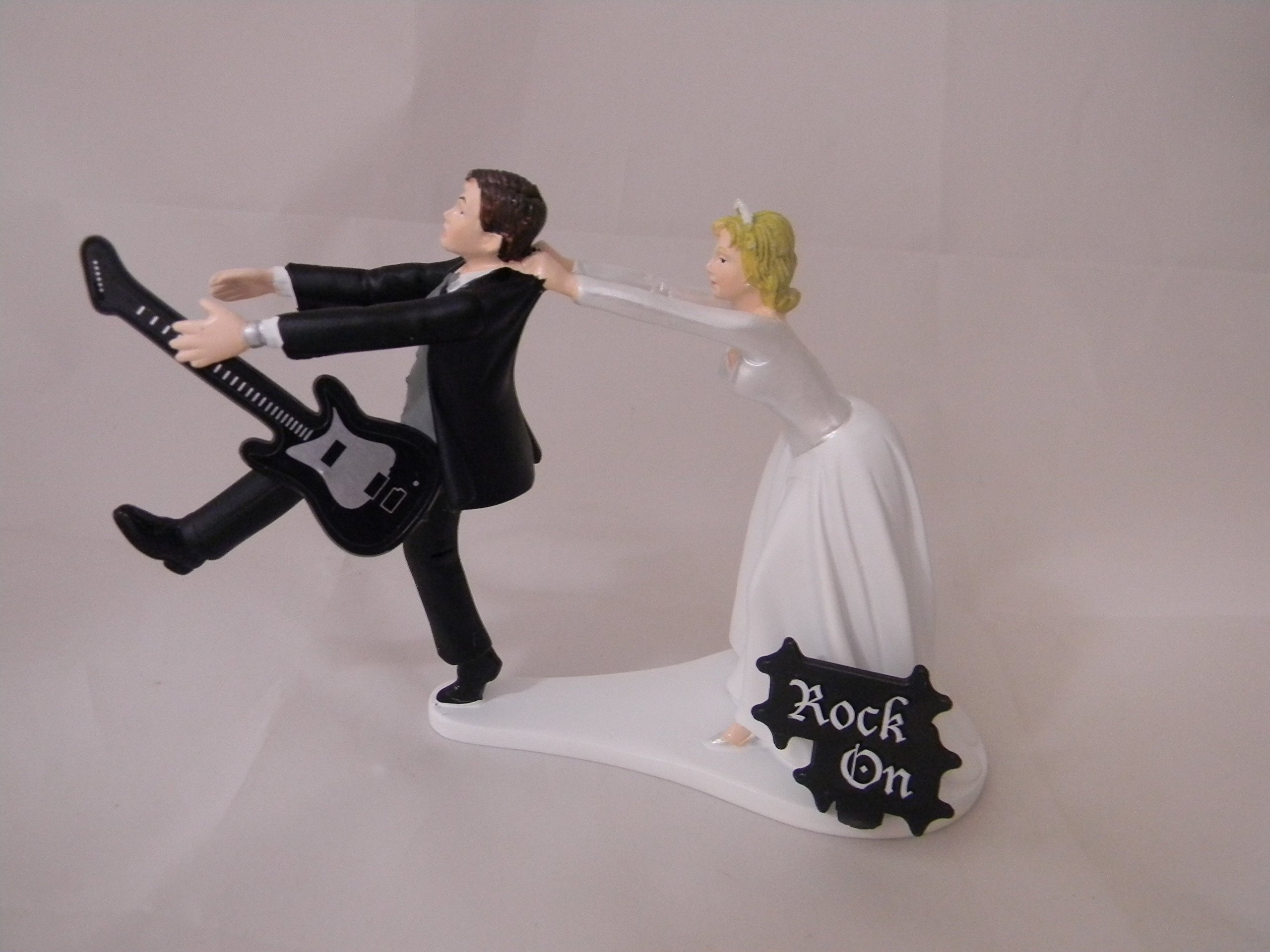 Wedding Reception Party Running Groom Black Guitar Band Music Cake Topper
