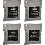 4 Pack - California Home 200g Activated Bamboo Charcoal Deodorizer Natural, Air Purifying Bags, Dehumidifier, Allergy-Free Filters, Odor Neutralizer for Home, Shoes, Car, Charcoal Colored
