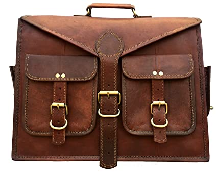 8bee4e955bb2 AURA CREATIONS Briefcase Laptop bag Leather office bag men brown Pure leather  bags for mens office ...