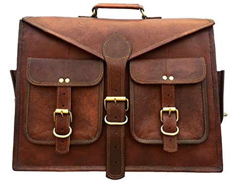 Buy AURA CREATIONS Briefcase Laptop bag Leather office bag men brown Pure leather  bags for mens office Leather office laptop bag brown leather office bag  messenger bags Men/Women/Boys/Girls/Male/Female/Gents/ Ladies/Unisex Pure  Goat Leather