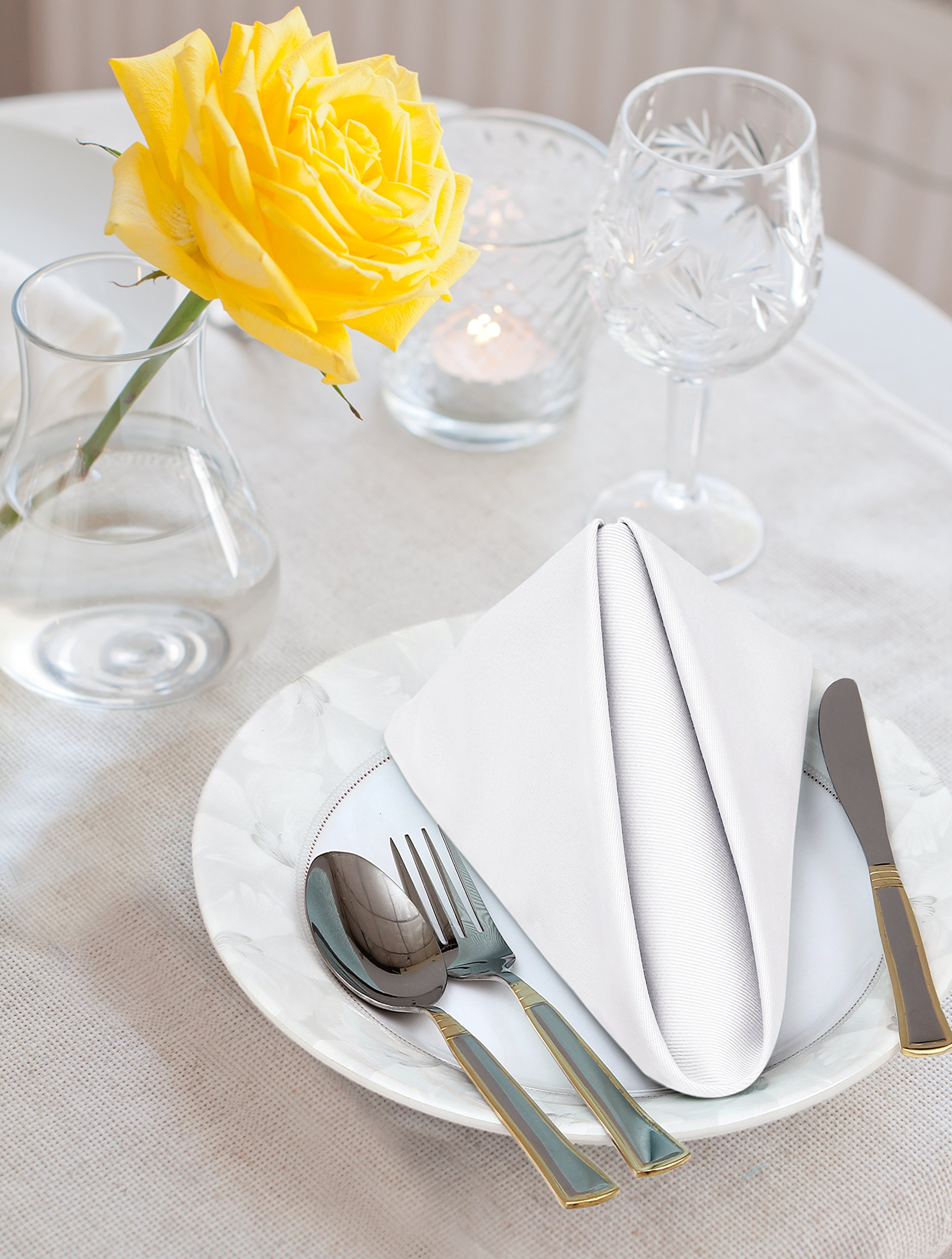 Cotton Dinner Napkins White - 12 Pack (18 inches x18 inches) Soft and Comfortable - Durable Hotel Quality - Ideal for Events and Regular Home Use - by Utopia Bedding by Utopia Bedding (Image #2)