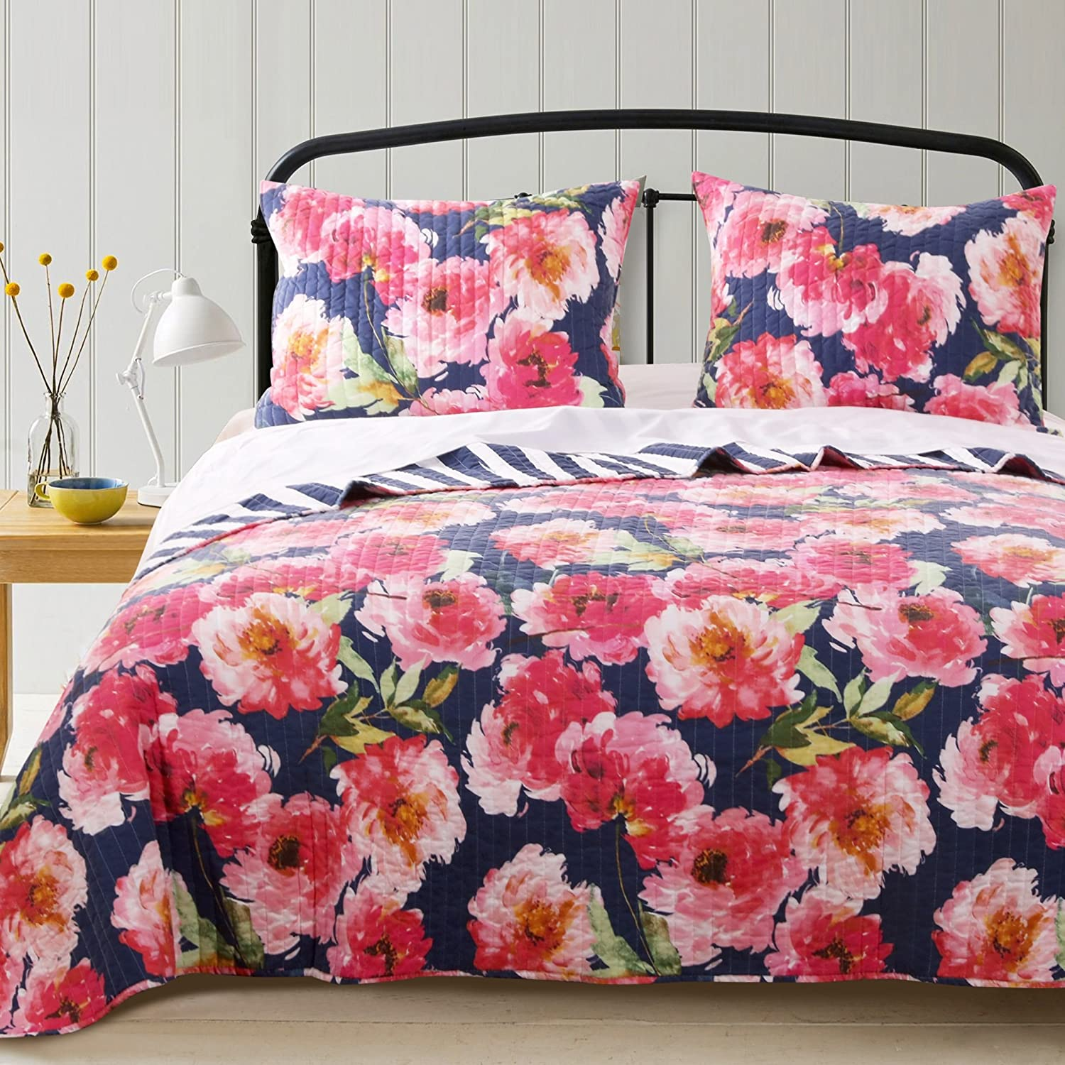 Barefoot Bungalow Peony Posy Bedding Set, Twin, Navy