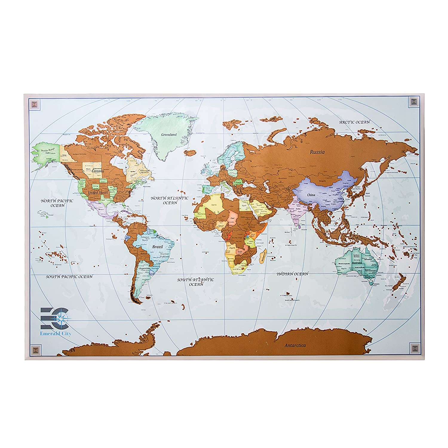 Amazoncom Scratch Off Map Of The World Scratch Travel Poster - Map-of-the-world-with-us-states
