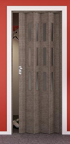 Puerta plegable elvari, efecto 3d roble taupe, con ventana de 3 filas satinado, B 87,0 X H 202 cm: Amazon.es ...