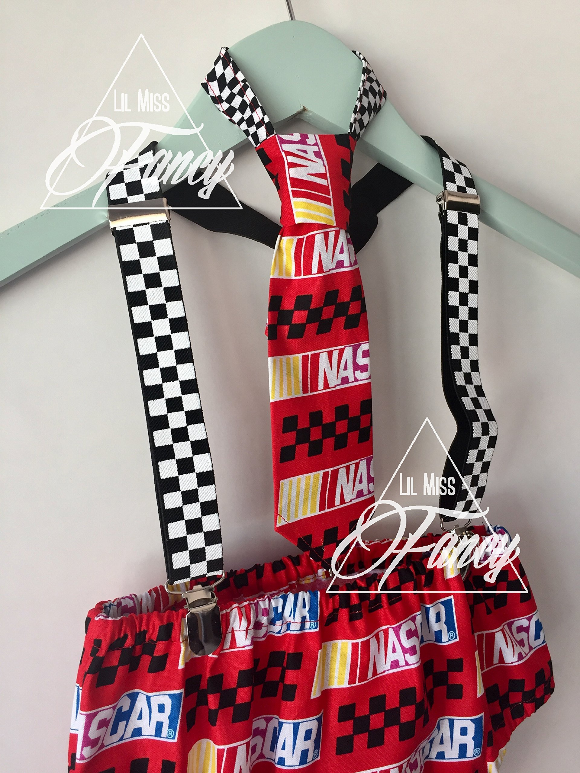 Nascar Race Car Boys Checkers Suspenders Cake Smash with Neck Tie and Optional Party Hat