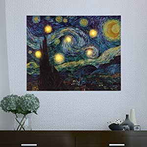 Lavish Home 80-LTCANVAS-1 Wall Art Canvas with Timer-Van Gogh Starry Night Printed Decor with LED and Color-Changing Lights for Home and Office, 16x20, 16 x 20 Multicolor