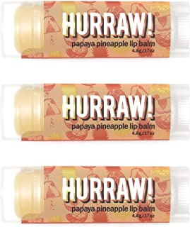product image for Hurraw! Papaya Pineapple Lip Balm, 3 Pack: Organic, Certified Vegan, Cruelty and Gluten Free. Non-GMO, 100% Natural Ingredients. Bee, Shea, Soy and Palm Free. Made in USA