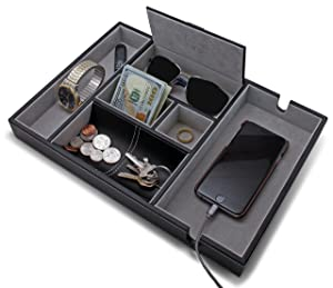 """HOUNDSBAY""""Victory"""" Valet Tray for Men with Large Smartphone Charging Station (Grey)"""