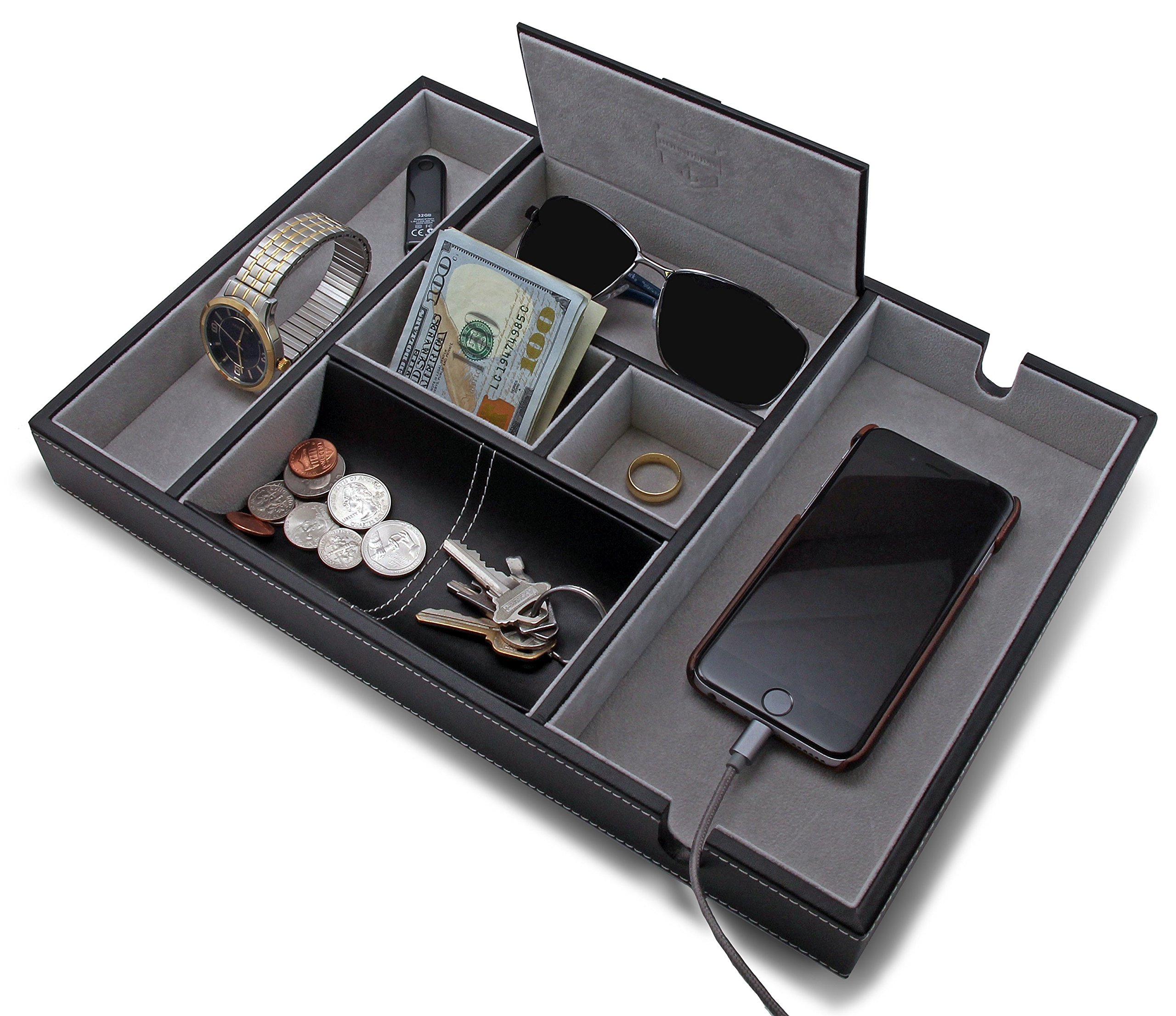 HOUNDSBAY ''Victory Valet Tray for Men with Large Smartphone Charging Station (Grey)