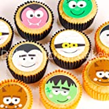 Halloween Cake Toppers 24x4cm Pre - cut Edible Wafer Halloween Faces