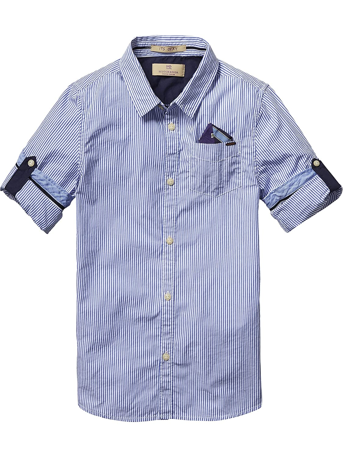 Scotch Shrunk Jungen Hemd Blue Series Shirt with Detachable Pocket Square