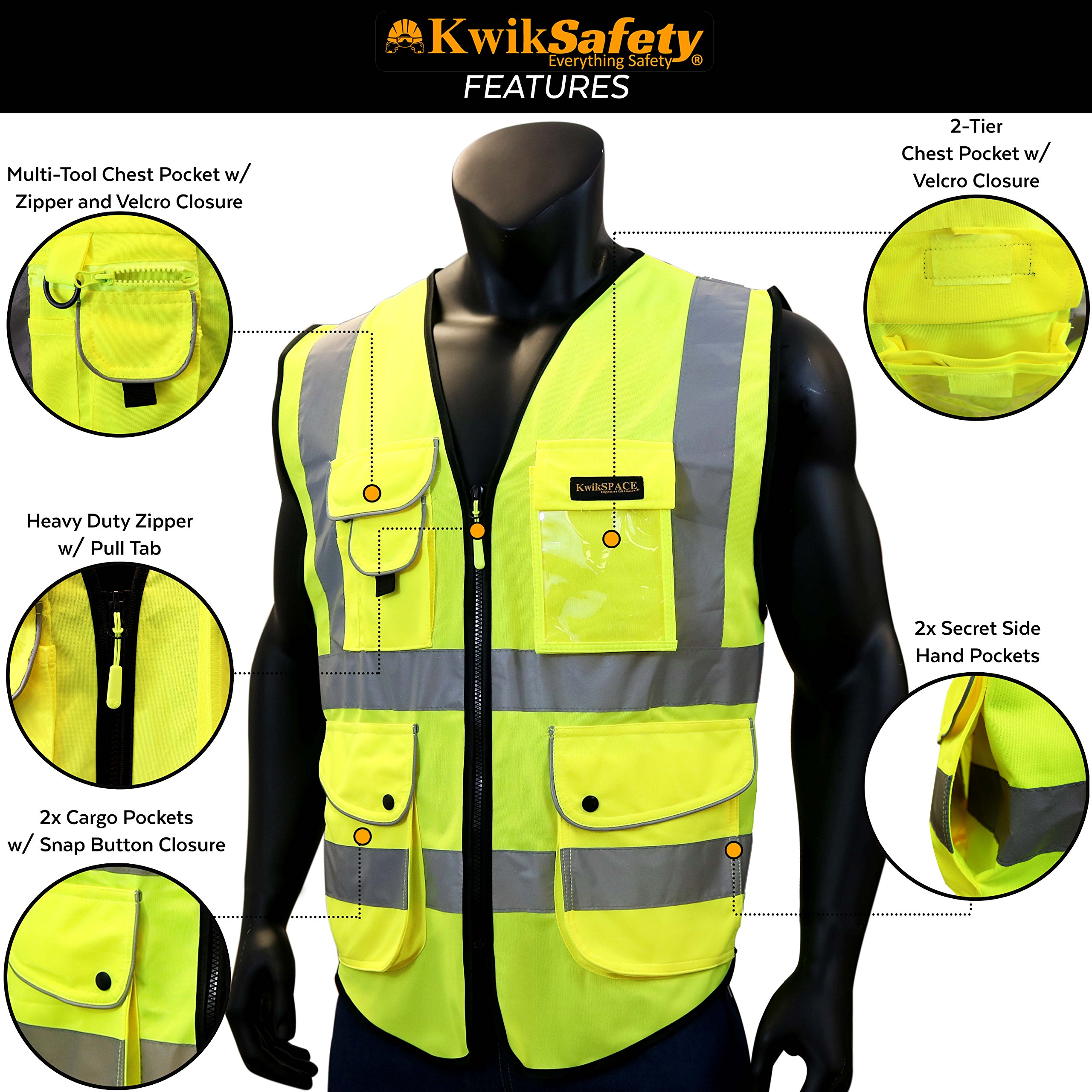KwikSafety (Charlotte, NC) SUPERIOR (9 Pockets) Class 2 ANSI High Visibility Reflective Safety Vest Heavy Duty Mesh Zipper and Hi Vis Construction Surveying Engineering Work HiViz Men Yellow XX-Large by KwikSafety (Image #5)