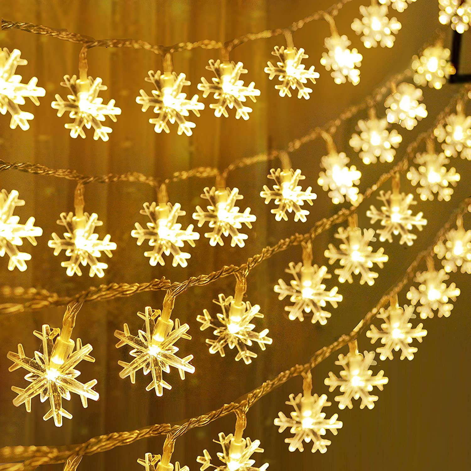 Joiedomi 2Packs Christmas Snowflake Fairy Lights 16ft 40 LED (Warm White) String Lights Battery Operated Waterproof for Xmas Home Party Wedding Garden Patio Bedroom Indoor Outdoor Decor