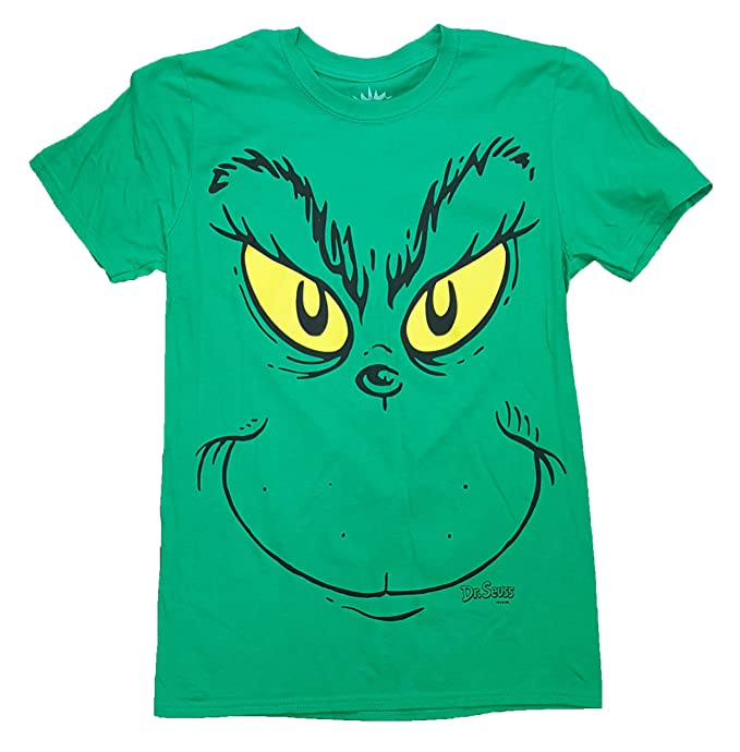 Dr Seuss How the Grinch Stole Christmas Grinch Face Green Graphic T-Shirt -  Small d21ab1196