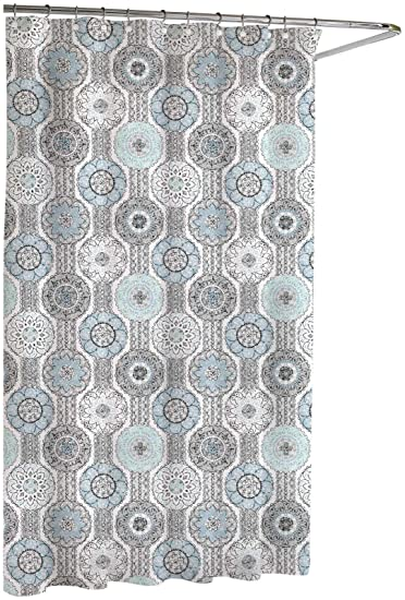 Amazon.com: Kassatex Urban Tiles Shower Curtain, Blue/Grey, 72 by ...