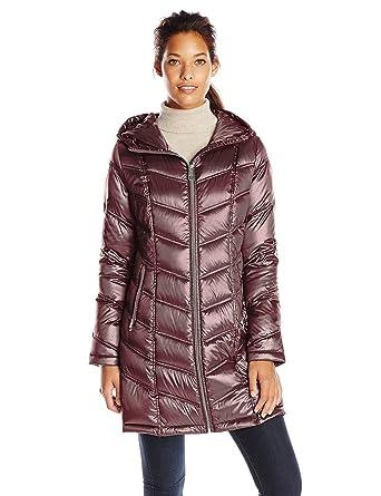 0b4f6f9dc25 Calvin Klein Women's Mid-Length Packable Chevron Down Coat, Shine Wine, X-