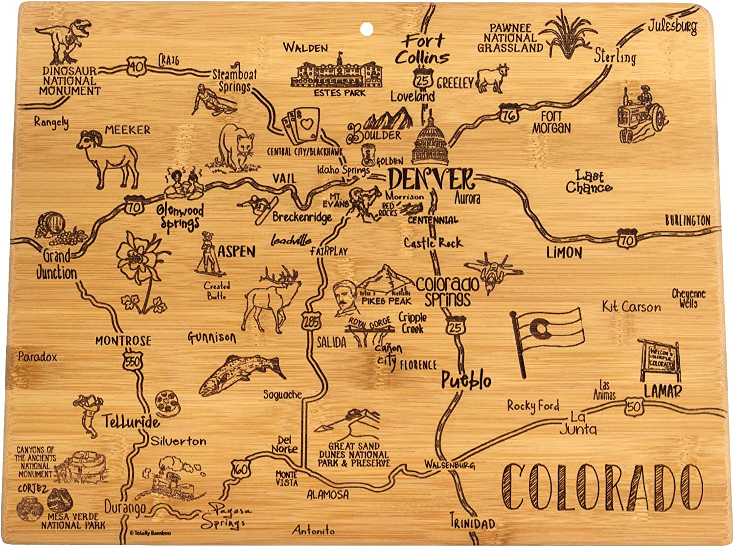 """Totally Bamboo Destination Series Colorado State Shaped Serving and Cutting Board, Bamboo, 14.5"""" x 10.75"""""""