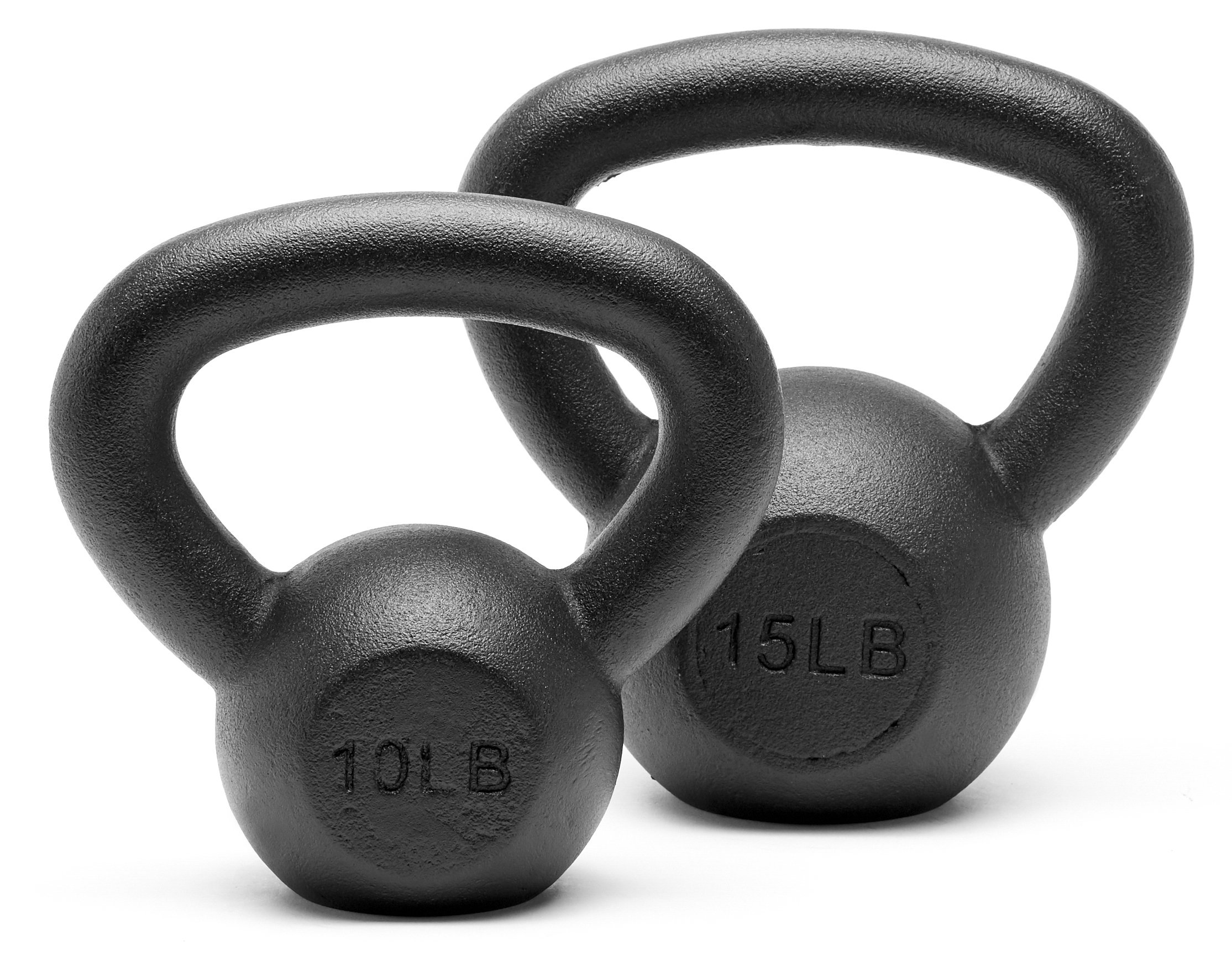 Unipack Powder Coated Solid Cast Iron Kettlebell Weights Set- (10+15 lbs)
