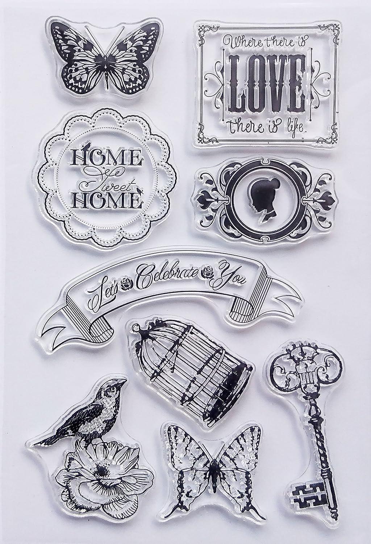 Stempel Set Clear Stamp transparent in verschiedenen Motiven Blumen Ornamente Tattoo