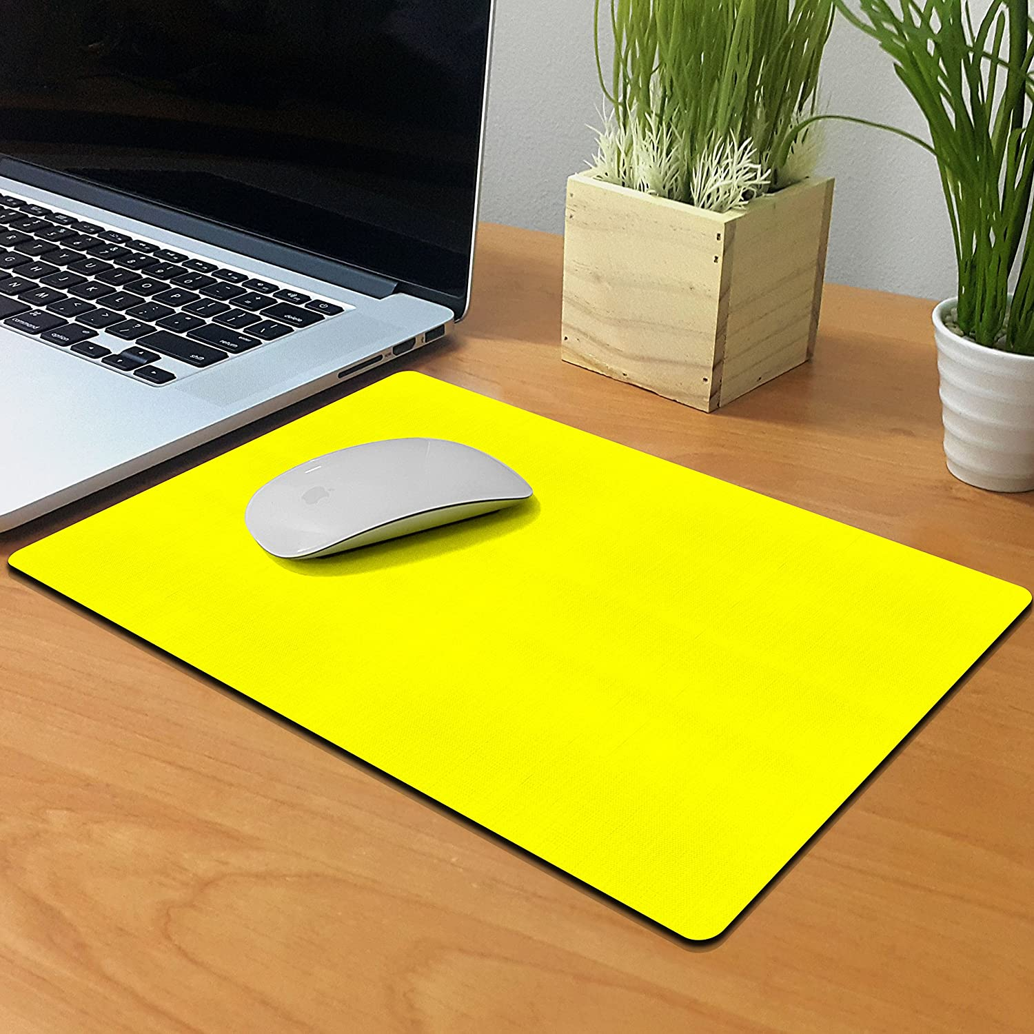 X-Large Size Non-Slip Rectangle Mousepad Extra Large Office and Gaming Desk FINCIBO Solid Hot Pink Mouse Pad for Home