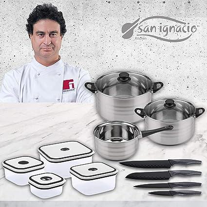 San Ignacio Premium Set de Bateria 5 Piezas + 4 recipientes herméticos + 4 Cuchillos de Cocina, 5 pcs + Utensilios