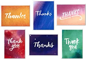 Hallmark Thank You Cards Assortment, Watercolor Thanks (48 Cards with Envelopes for Baby Showers, Wedding, Bridal Showers, All Occasion)