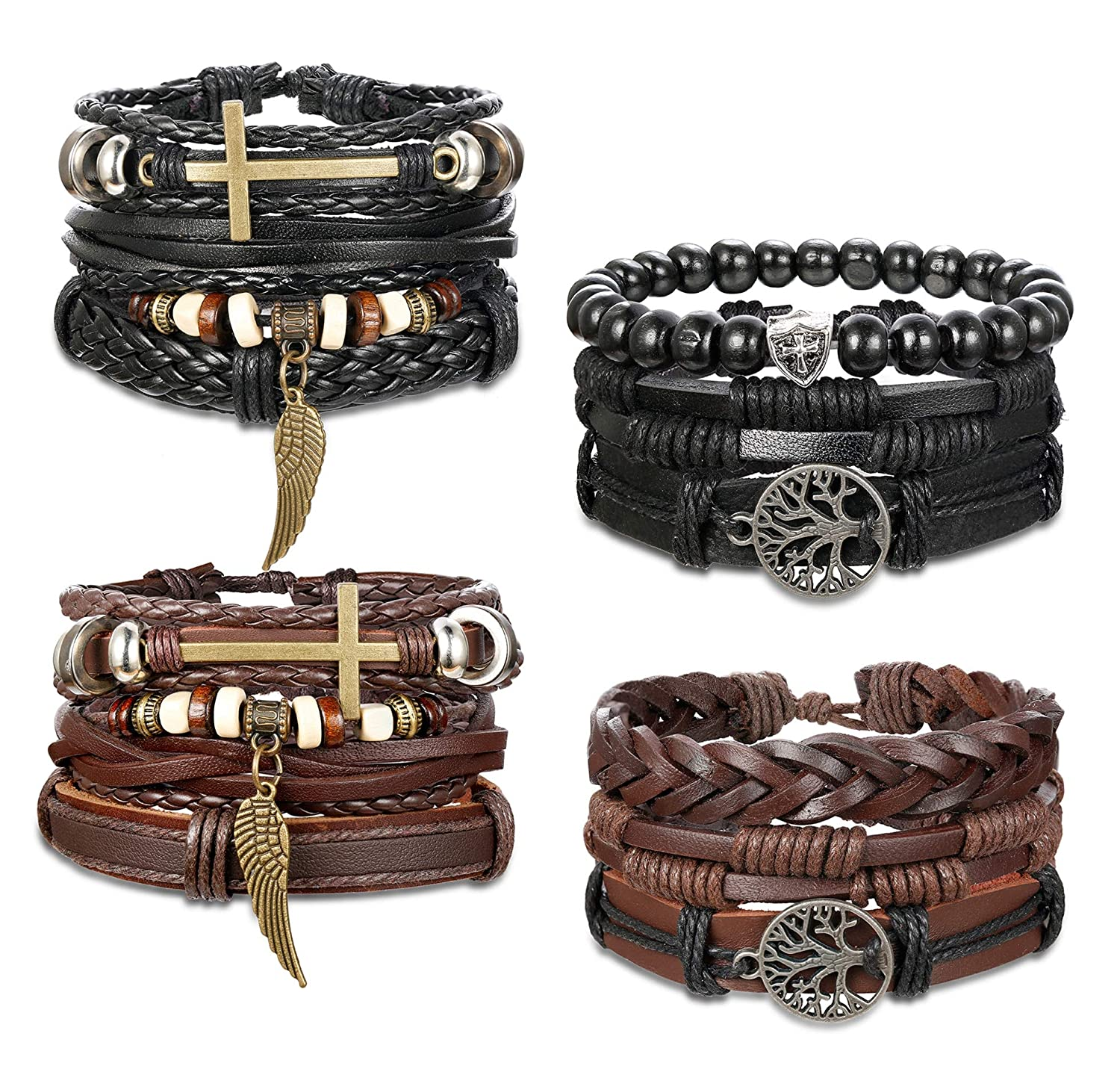 Yadoca 12 Pcs Mens Leather Bracelet Cuff Wrap Bracelets Women Braided Cord Handmade Jewelry Black Brown Set Adjustable