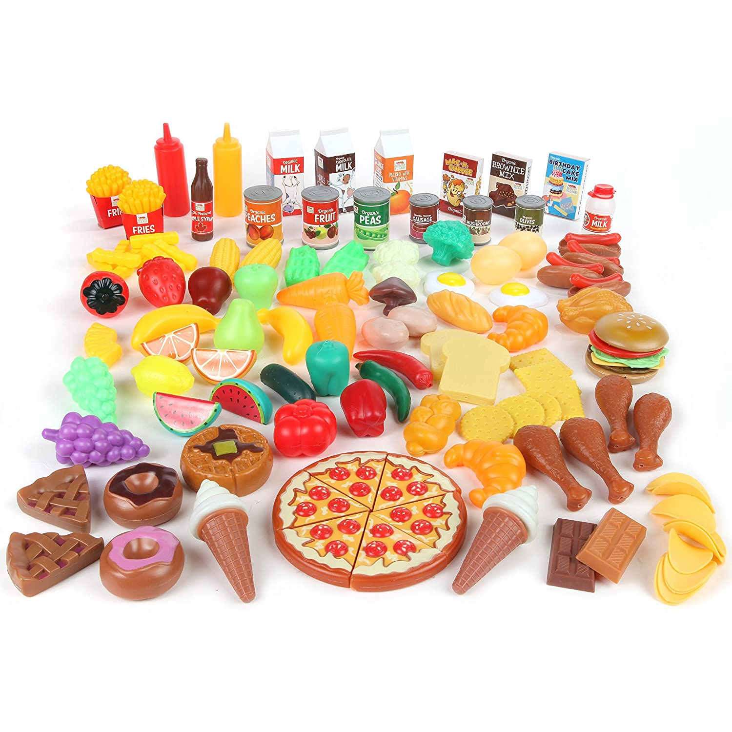 Amazon com play food set for kids toy food for pretend play huge 125 piece play kitchen set with childrens educational food toys for toddlers inspires