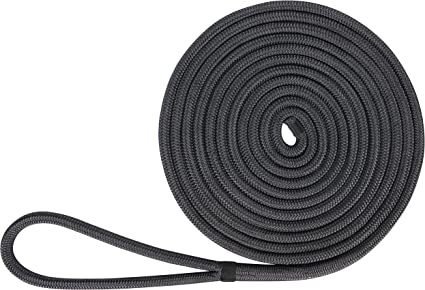 "3//4/"" x 100 feet DOUBLE BRAID NYLON ROPE dock anchor mooring pull lines Black"