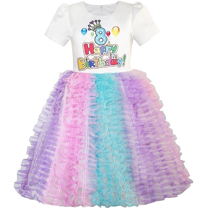 Amazon.com: Sunny Fashion Girls Dress Happy Birthday Candle Party 1st Birthday Tutu Dress: Clothing