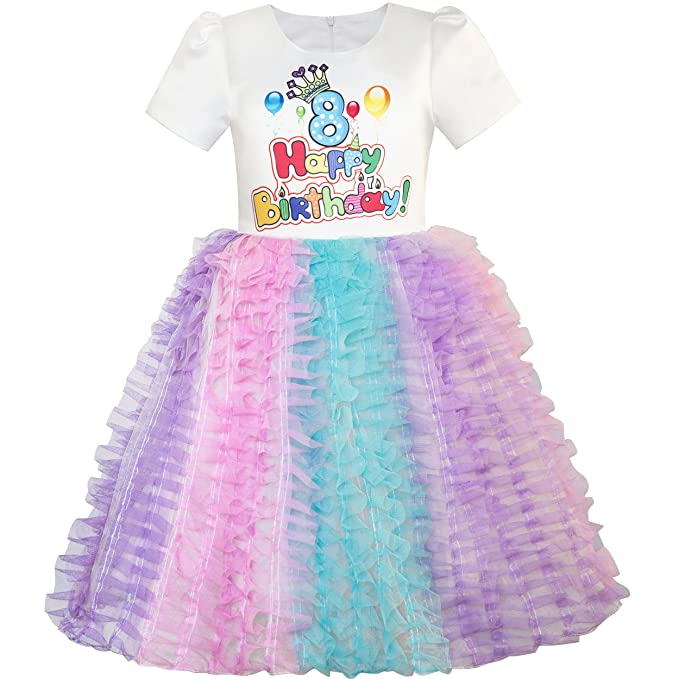 LV51 Sunny Fashion Vestido para niña Contento Cumpleaños Princesa Fiesta 1ra Cumpleaños Tutu 1 años