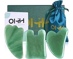 Gua Sha Massage Tools Set, OHH Aventurine Natural Stone Guasha Board for Face and Body, Skincare Gua Sha Facial Massager for