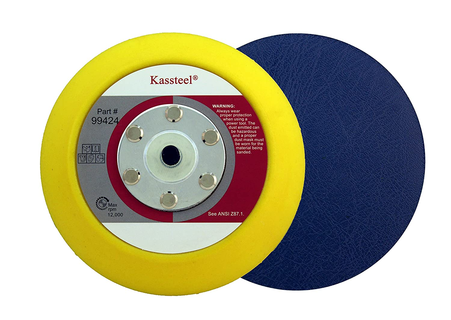 Kassteel 99424 5' PSA Back Up Pad for Makita Sander 16mm Thick Soft for Stone Metric Thread M8x1.25 1 Pad