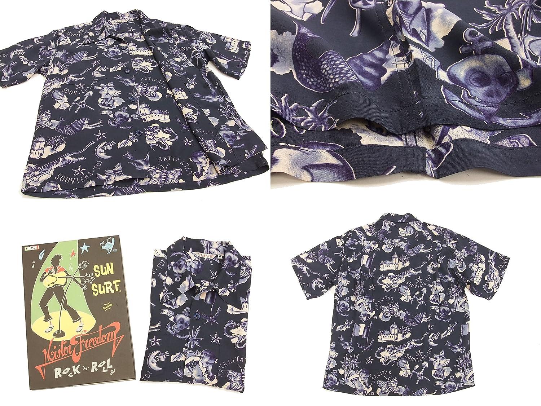 14ed79d0 Amazon.com: Mister Freedom x Sun Surf Rock & Roll Shirt, Biribi Men's Short  Sleeve SC37842 Dark Navy XL (US L-XL/UK 40-42/17-17 1/2): Clothing