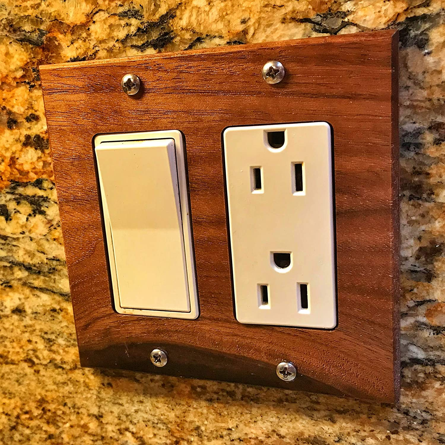 Solid Wood 2 Pack Handmade in USA. Curly Maple 2 Gang Light Switch Cover