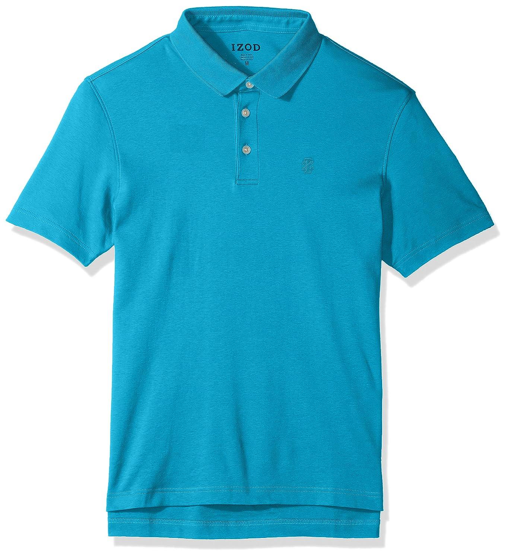 Izod Mens Solid Interlock Polo Shirt Algiers Blue Xx Large At