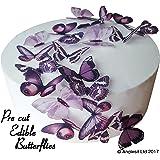 24 X PRE-CUT BEAUTIFUL MEDIUM PURPLE BUTTERFLIES EDIBLE RICE / WAFER PAPER PRE CUT CUPCAKE CAKE DESSERT TOPPERS BIRTHDAY PARTY WEDDING BABY SHOWER DECORATIONS (Medium)