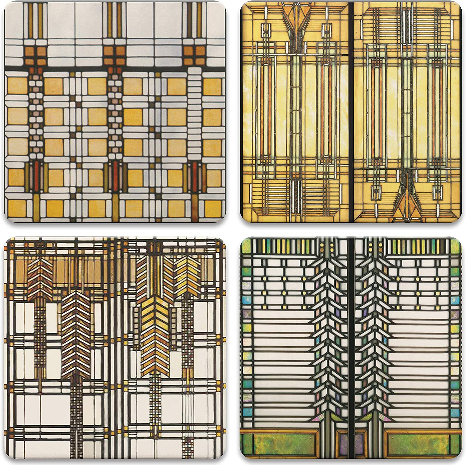 4-1//4-Inch,Frank Lloyd Wright Art Glass Collection Set of 4 CoasterStone AS2745 Absorbent Coasters
