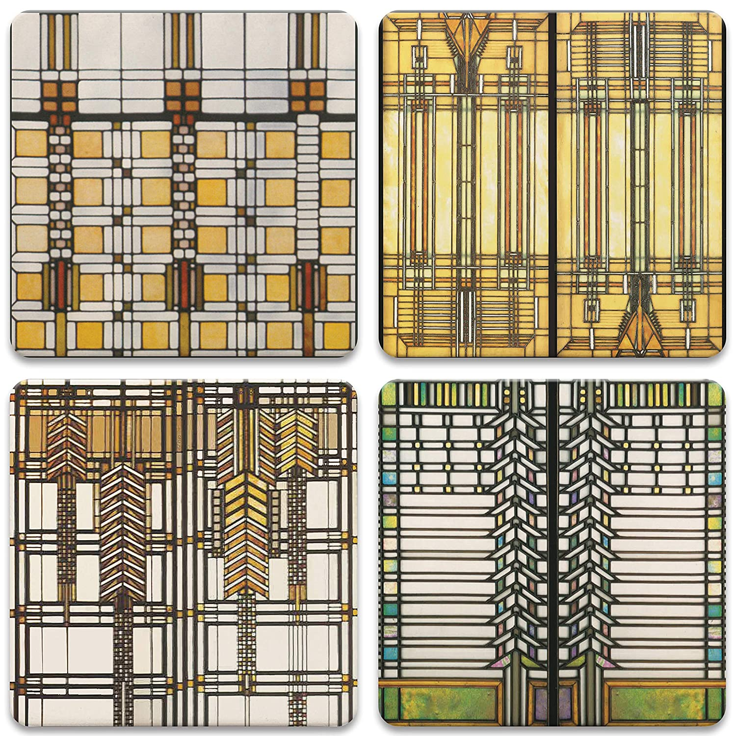 """CoasterStone AS2745 Absorbent Coasters, 4-1/4-Inch,""""Frank Lloyd Wright Art Glass Collection"""", Set of 4"""