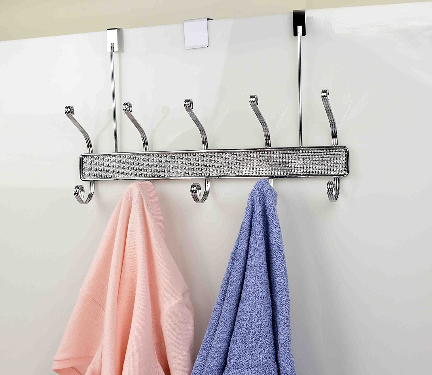 Home Basics Over the Door Crystal Diamond 5 Hook For Hanging Clothes, Coats, Towels, Robe or Bags, Satin Nickel
