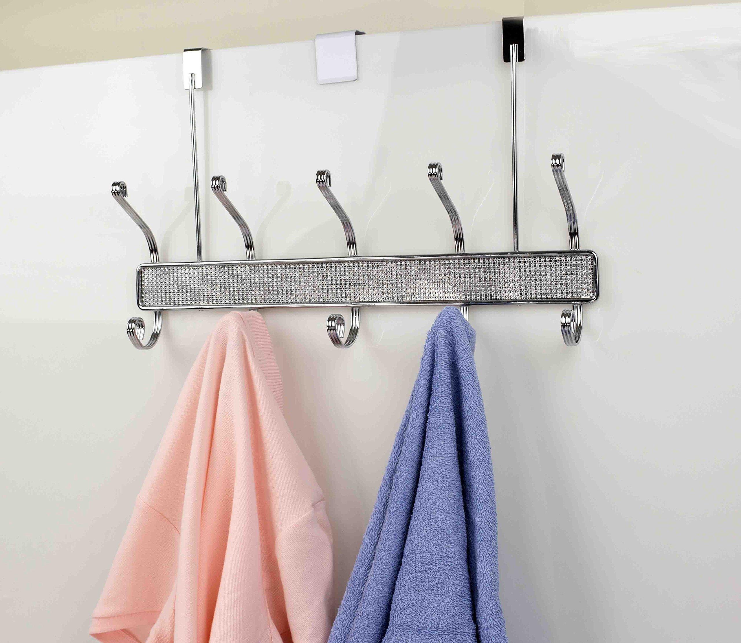 Home Basics Over The Door Crystal Diamond Towel 5 Hook