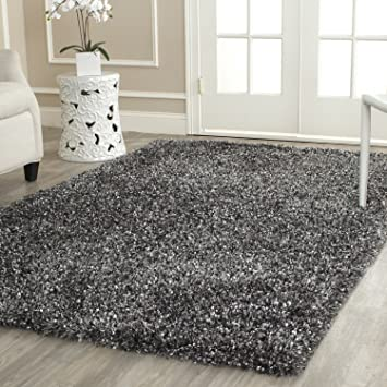 Safavieh Malibu Shag Collection MLS431C Handmade Charcoal Polyester Area Rug  (8u0027 X ...