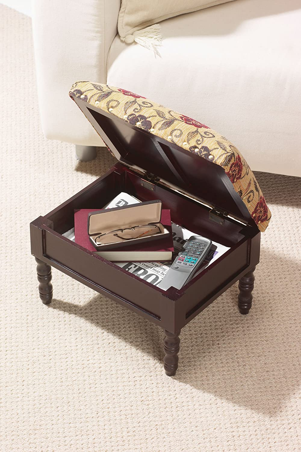 Greenhurst Storage Footstool in a Traditional Stained Mahogany Wooden Frame in a Floral Design Gablemere 4222