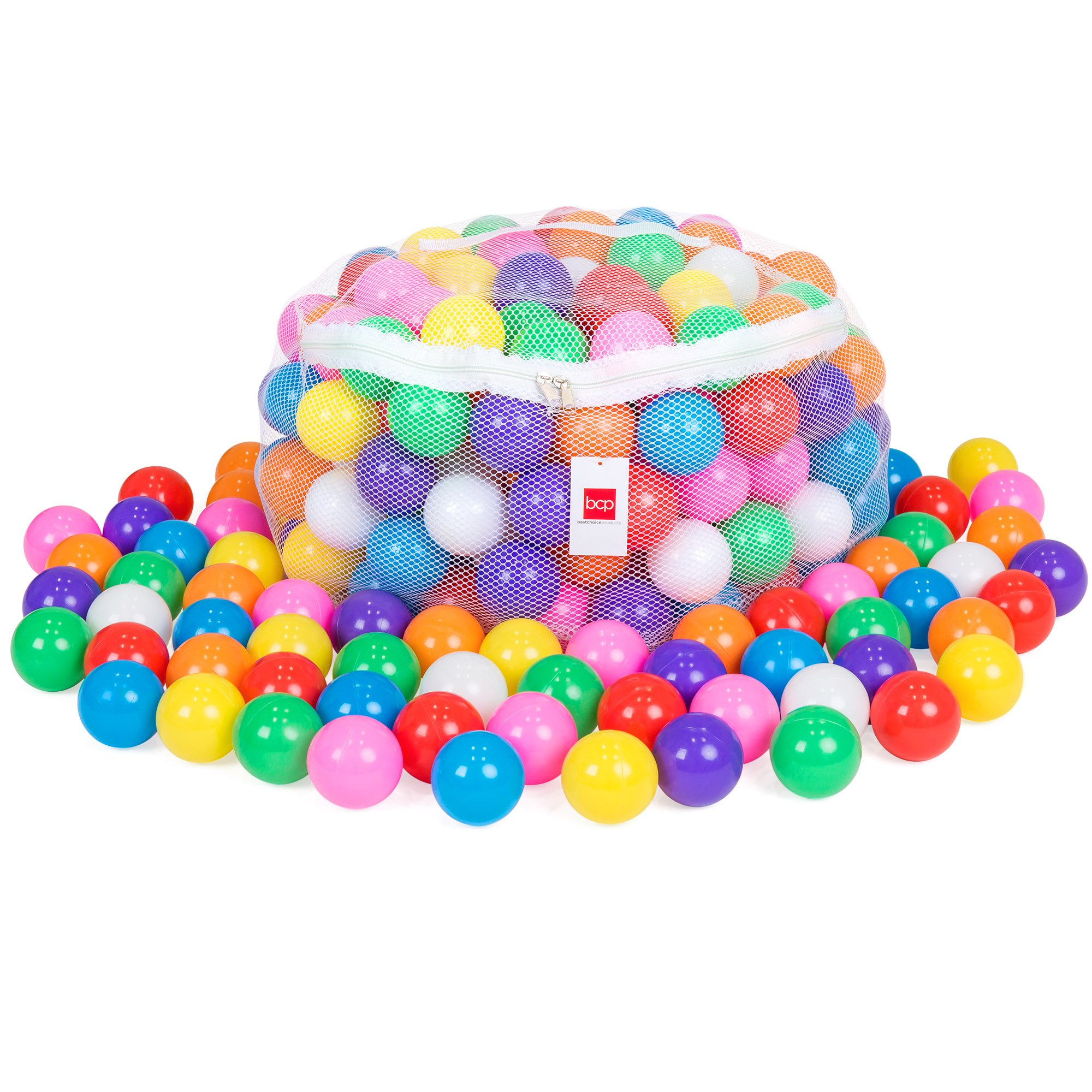 Best Choice Products Pack of 200 BPA-Free Plastic Pit Balls w/ Zipper Mesh Storage Bag, Multicolor by Best Choice Products