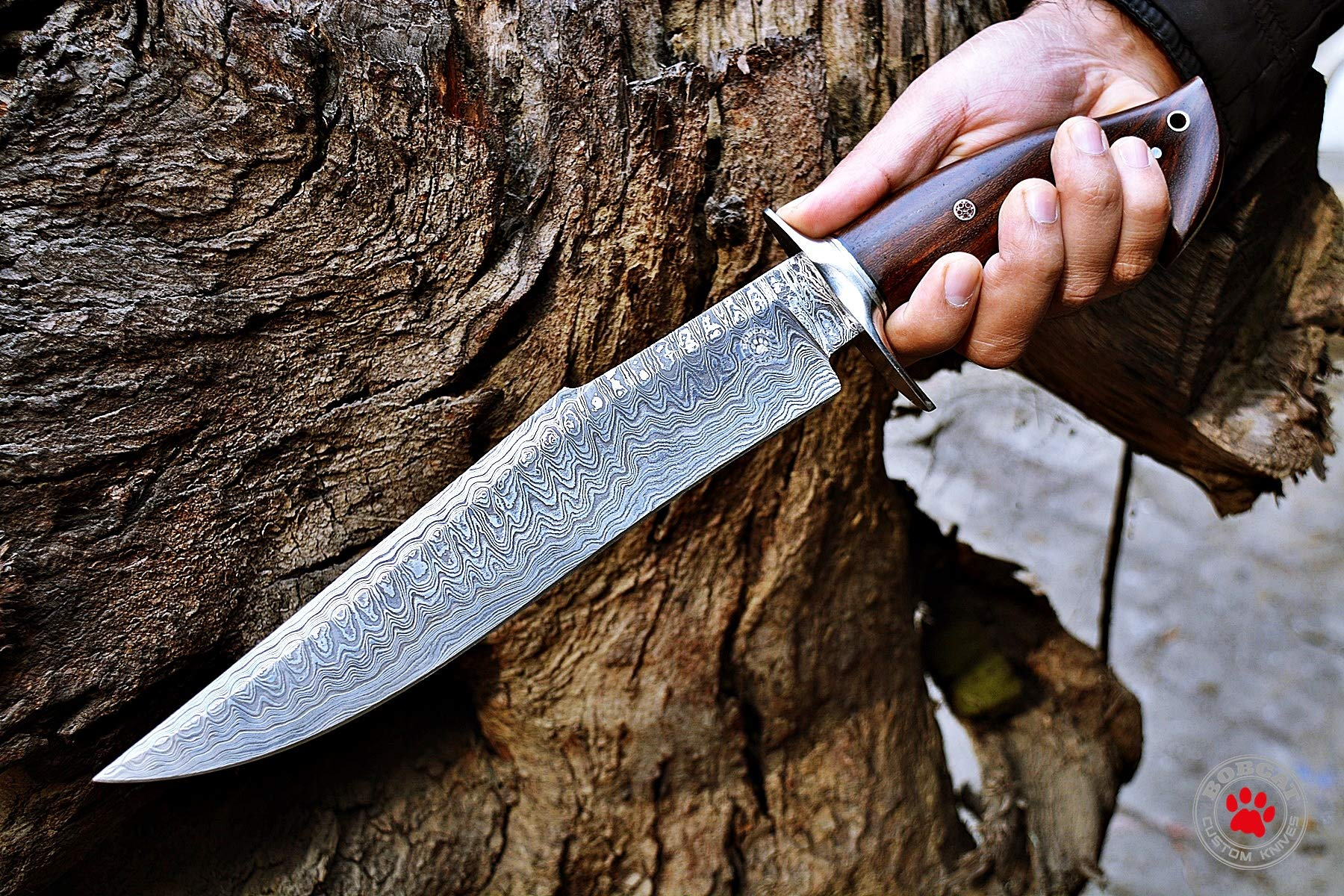 Custom Handmade Bowie Knife Hunting Knife Promotional Price Full Tang Damascus Steel 10'' Solid Walnut Wood Handle with Nice Sheath by Bobcat Knives (Image #4)